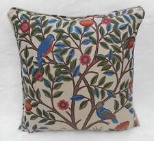 William Morris Fabric Cushion Cover 'Kelmscott Tree' Woad/Wine - Linen Blend