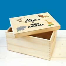 Personalised Kids Wild Safari Animals Wooden Toy Box with Lid, Child's Toy Box