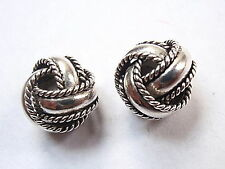 Bali 8mm Knotted Stud Earrings 925 Sterling Silver Corona Sun Rope Style Accents