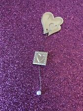 Craft Embellishments Silver Celebrations Heart x 5