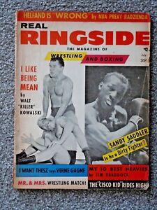 1956 REAL RINGSIDE MAG. WRESTLING BOXING, KILLER KOWALSKI, SANDY SADDLER, THESZ