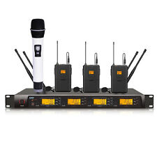 professional 4 channels PLL wireless microphone lapel lavalier microfone system