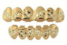 Player 14K Gold Plated Diamond Cut Zig Zag Teeth Mouth Grillz Set w/ Mold Kit