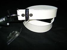 Armourdillo White Snowstorm Men's Leather Belt NWT Size S 27 28 29 30 31 Skater