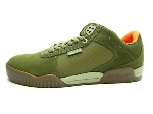 US 7.5 Supra Mens Skateboarding Shoes Green Olive Stone White M 370