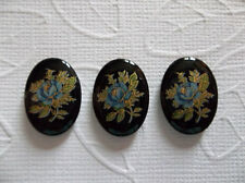 Blue Rose on Black Cameos Vintage Decal Picture Stones 18X13mm Glass Cabochons