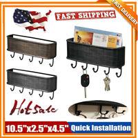 5 Hook Wall Mounted Key Rack Hanger Holder Storage Key Letter Organizer Decor