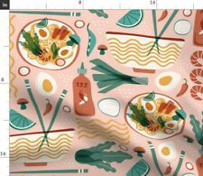 New listing Noodle Food Pink Asian Japanese Kitchen Spoonflower Fabric by the Yard