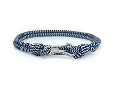 Navy White Zig Zag & Silver Carabiner Bracelet Climber Paracord Rope Adventure