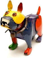 Whimsical French Bulldog Sculpture Colorful Metal Statue Yard Figurine, Handmade