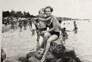 1981 Black Sea Russian Woman Bikini Swimwear Son Hugs Vintage Photo Snapshot