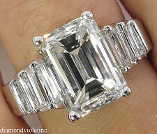 5.82CT ESTATE VINTAGE EMERALD CUT DIAMOND ENGAGEMENT WEDDING RING 18K WG