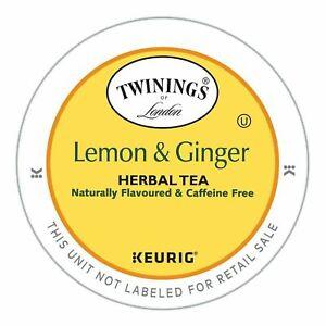 Keurig Twinings Lemon and Ginger Herbal Tea K Cups 96 Ct Best By 11/28/23
