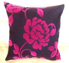 Vibrant Brown Fuchsia Purple Soft Velvet Flower Cushion Covers Art deco 16''  BN