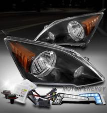 For 07-11 Honda CR-V CRV Black Headlights Lamps w/Blue LED DRL Signal+6000K HID