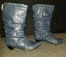 Aldo Leather Boots Women Size 40 Blue Vintage Shoes