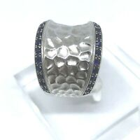 Hammered Sterling Silver Wide Band Ring Size 7.5 With Sapphires on the Edge