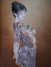 TATTOO ASIAN GEISHA GIRL SIDE KOI LOTUS FLOWERS FULL BODY CANVAS ART PRINT