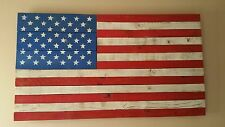 HUGE Handcrafted Wood - Rustic American Flag - Art Wall Hanging - Distressed