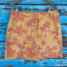 Cherokee Womens Skort 12 Yellow Floral Orange
