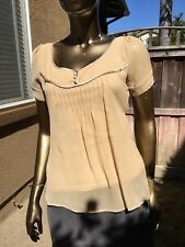 Women's Blouse Size Small SS Tie Back Sheer with Lining