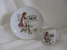 GIRL CHILD SET  IN APRON MAKING TEA PLATE & MUG BAVARIA GERMANY JWK PORCELAIN