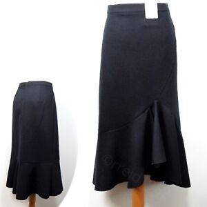 PER UNA Wool Blend MIDI Ruffle Trim A-LINE SKIRT ~ Size 16 ~ BLACK (rrp £45)