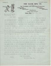 "1926 Davis Mfg Co. Illustrated ""Yankee"" Household Woodenware Letterhead Clinton"