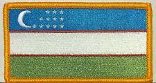 Uzbekistan Flag Embroidery Iron-On Patch Military Emblem Gold Border #02
