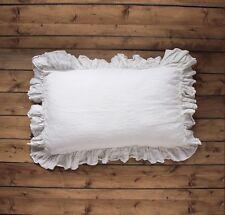 Linen pillow case flax 4-SIDES RUFFLE pillow sham 100% linen closed seam HEM