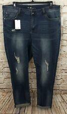 Womens Seven7 Jeans Distressed Cropped Raw Hem Capri Ripped Stretch Plus 20W 24W