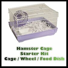 Hamster Cage Starter Kit 40x23x30cm Small Animal Pet Cage Gerbil Wheel Uk
