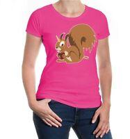 Damen Kurzarm Girlie T-Shirt Einhörnchen Eichhörnchen Nagetier Eichkätzchen