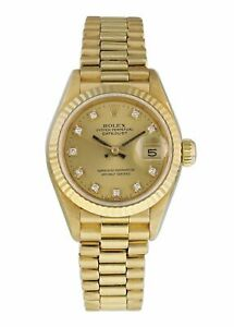 Rolex Datejust Diamond Dial Yellow Gold Ladies Watch