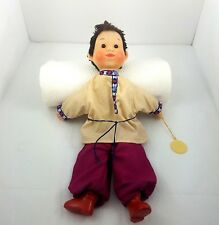 Vintage Hand Puppet Krugozor Factory USSR RUSS 1970 Child Red Boots Brown Hair