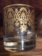 New listing Williams Sonoma Ornate Gold Old Fashioned Glasses Set 2 Holiday New