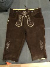 New Authentic Oktoberfest Leather Lederhosen German Bavarian Brown Shorts Sz 34