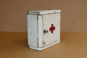 Antique Vintage Wooden Medical Box First Aid Chest Wall Shelf Cupboard 1940's