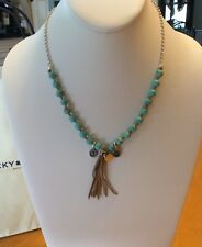 Lucky Brand Turquoise And Fringe Necklace #351a