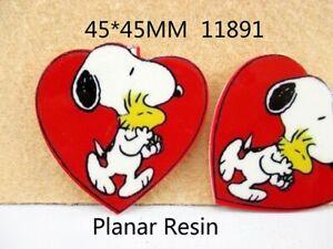 5 x 45mm SNOOPY HEART LASER CUT FLAT BACK RESIN HEADBANDS HAIR BOWS CARD MAKING