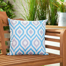 Blue & Grey Abstract Water Resistant Outdoor Printed Garden Scatter Cushion Cane