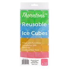 Thornton's Reusable Plastic Square Drink Ice Cubes Assorted Fun Colors Set of 32
