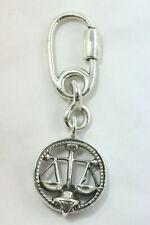 Ottaviani .925 Silver Designer Key Chain w/Zodiac Charm Libra Scales of Justice