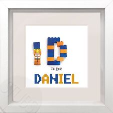 Lego Personalised Initial & Name Picture Frame. (25 x 25 x 4cm)