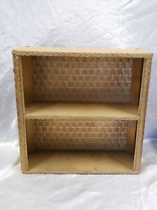 VTG PAINTED GOLD BATHROOM SHELF  SHABBY CHIC COTTAGE WICKER PRESSED WOOD MCM