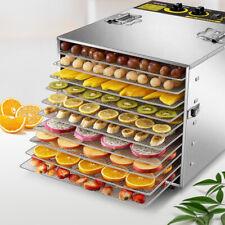 Household 10 Tray Food Dehydrator Stainless Pet Food Veg Fruit Dryer Blower 110V