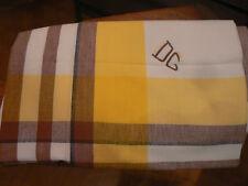 ancienne nappe rayures jaune marron 2 monogrammes DG