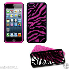 APPLE iPHONE 5 HARD ZEBRA FUSION HYBRID CASE SKIN COVER ACCESSORY BLACK/HOT PINK
