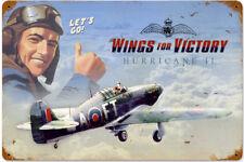 """Panneau Signalétique Métal Rouillé """"Wings of Victory - Hurricane"""" 450mm x 300mm"""
