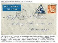 NED INDIE  1934-1-2   FLIGHT CV  BANDOENG- DEN HAAG    F/VF   PM =POSTJAGER =